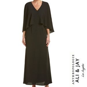 Anthropologie ALI & JAY Layered Cape Black Gown S
